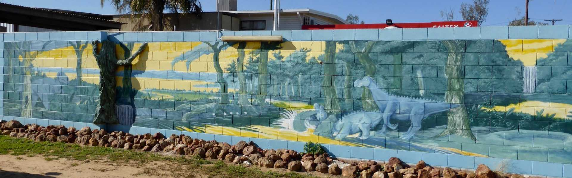 Kui Parks, Crocodile Caravan Park, Lightning Ridge, Wall Mural
