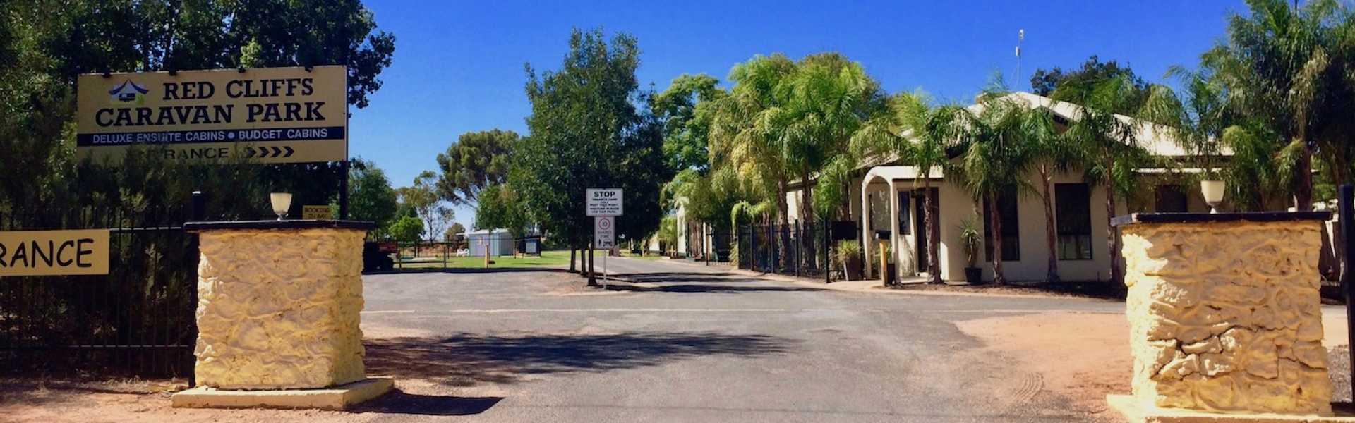 Kui Parks, Red Cliffs Caravan Park, Mildura, Entrance