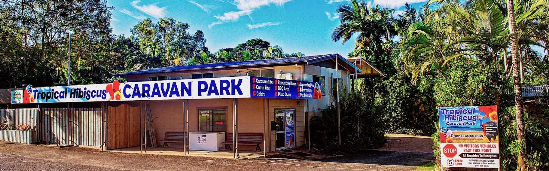 Kui Parks, Tropical Hibiscus Caravan Park, Mission Beach, Entrance