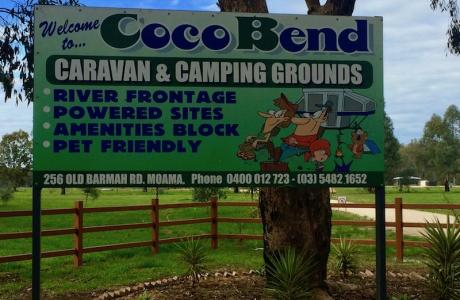 Kui Parks, Cocobend Caravan and Camping Grounds, Moama, Signage
