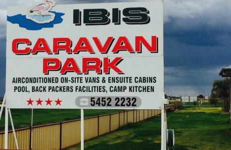 Kui Parks, Ibis Caravan Park, Kerang, Signage