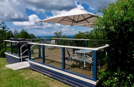 Kui Parks, Ocean View Caravan and Tourist Park, Landsborough, Happy Hour Decking