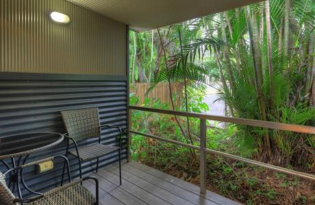 Kui Parks, Tropical Hibiscus Caravan Park, Mission Beach, Motel Balcony